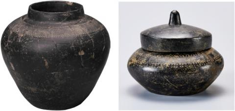 Examples of MYB ware forms: a jar, left, and a lidded bowl, right. Photos courtesy of National Museum of Korea.