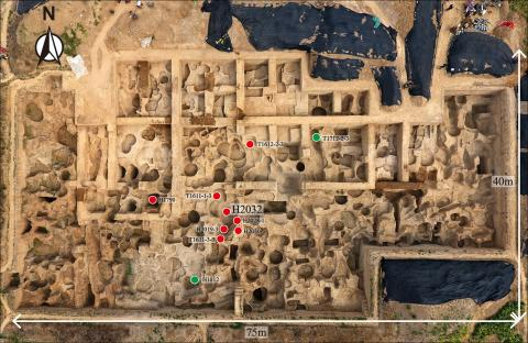 Spatial distribution of the minting remains in the foundry's excavation area